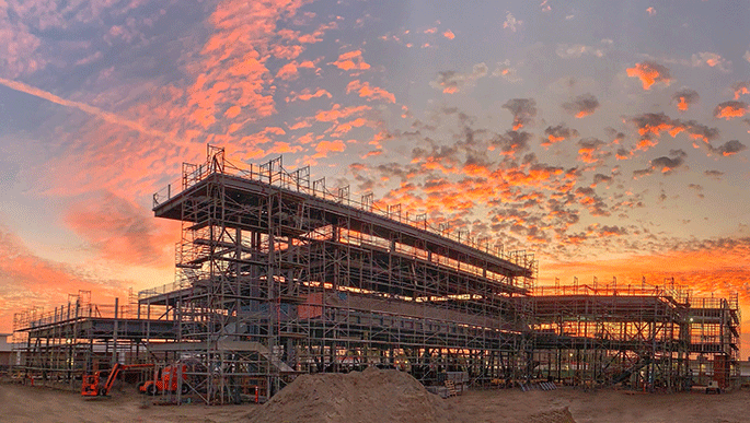 Sunset photo of Johnson Center construction