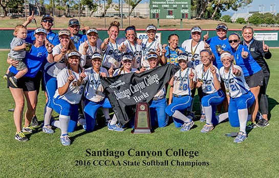 SCC Softball Team celebrating college's first CCCAA state championship