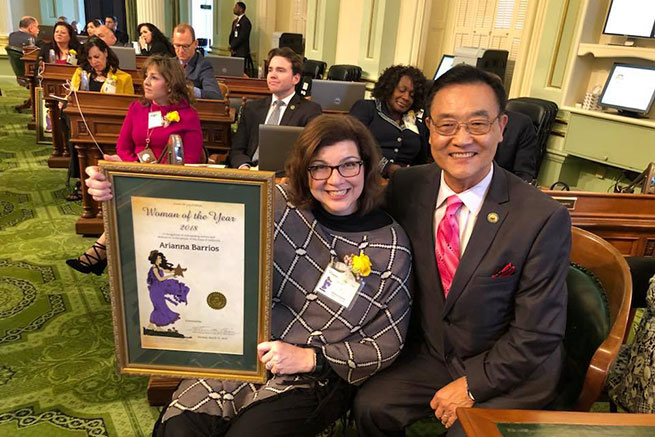 Image of Trustee Arianna P. Barrios with Assemblyman Steven S. Choi