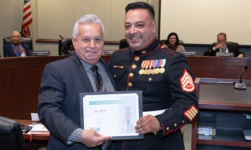 Trustee Zeke Hernandez and SAC Student Veteran Jose Marin